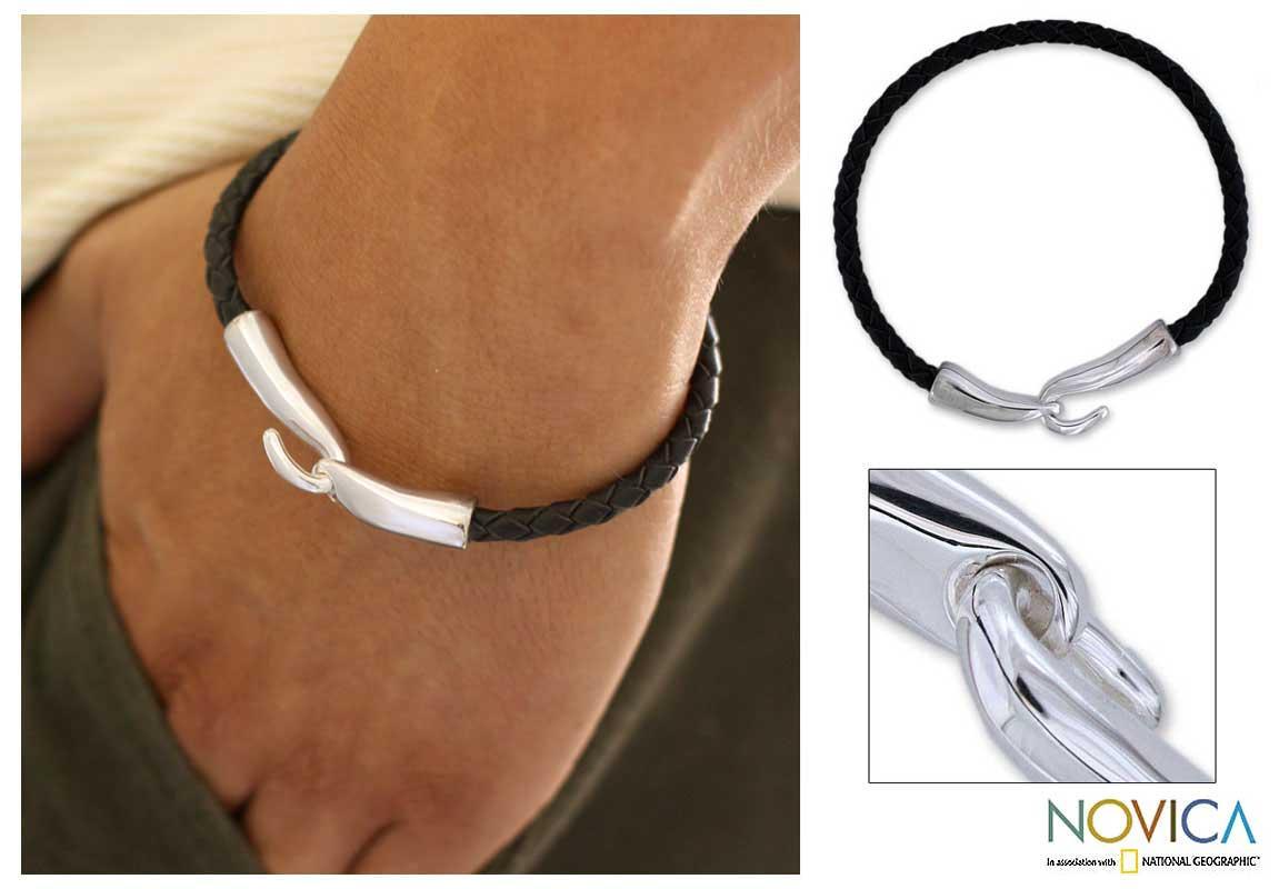 Leather 'Metropolis' Men's Bracelet (Mexico)