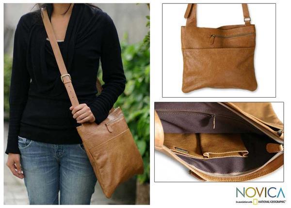 Sands of Ica Handmade Artisan Designer Tan Brown Fine Leather Cotton-Lined Large Adjustable Satchel Book Shoulder Bag (Peru)