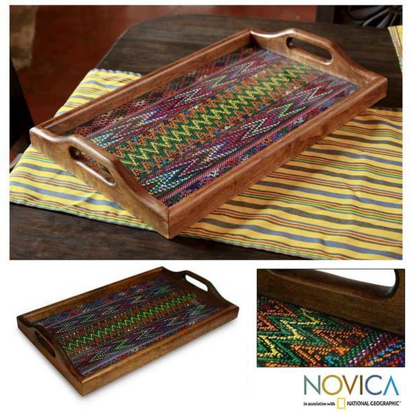 Wood and Cotton 'Maya Mystique' Serving Tray (Guatemala)