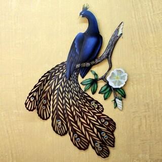 Handmade Steel Sapphire Peacock Wall Sculpture (Mexico)