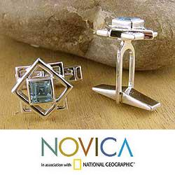 Starstruck 2 TCW Faceted Rectangular Blue Topaz Gemstones 925 Sterling Silver Everyday or Occasion Mens Toggle Cufflinks (India
