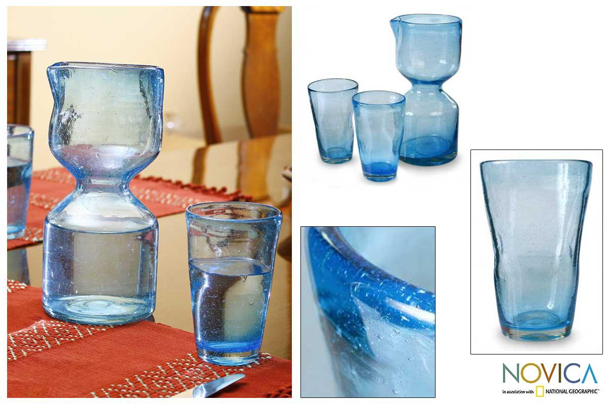 Set for 2 Blown Glass 'Azure Chalice' Carafe and Glasses (Guatemala)
