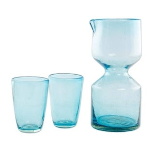 Handmade Set for 2 Blown Glass 'Azure Chalice' Carafe and Glasses (Guatemala)
