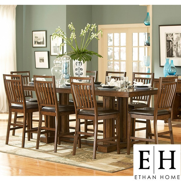 Harper 9-piece Mission Oak Counter-Height Dining S