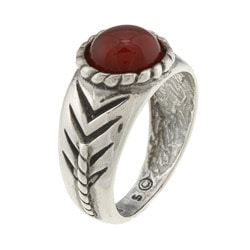 Southwest Moon Sterling Silver Round-cut Red Agate Ring