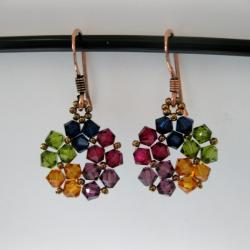 Handmade Goldtone Lovely Multicolor Crystal Earrings (USA)