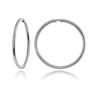 Mondevio 10k White Gold 16-mm Endless Hoop Earrings