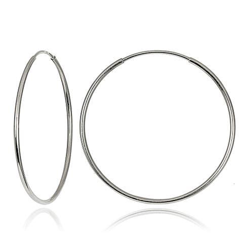 Mondevio 10k White Gold 20-mm Endless Hoop Earrings