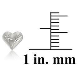 Mondevio 14k White Gold Mini Diamond-cut Heart Stud Earrings - Thumbnail 2
