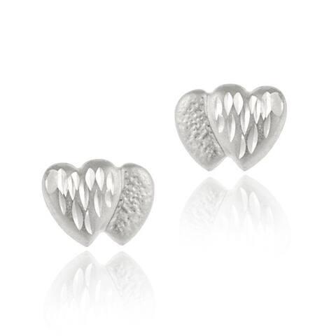Mondevio 14k White Gold Mini Diamond-cut Heart Stud Earrings