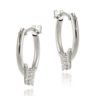 Mondevio 10k White Gold Mini Butterfly Hoop Earrings