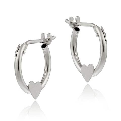 Mondevio 10k White Gold Mini Heart Hoop Earrings