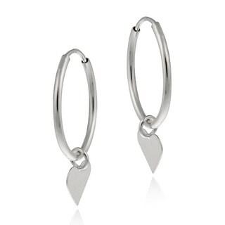 Mondevio 10k White Gold Dangling Heart Endless Hoop Earrings
