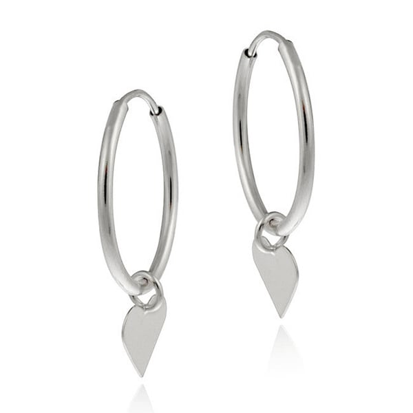 Mondevio 10k White Gold Dangling Heart Endless Hoop Earrings