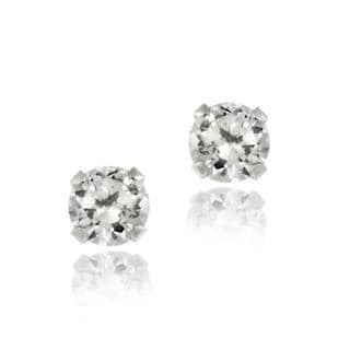 Icz Stonez 14k White Gold 3mm Round Cubic Zirconia Stud Earrings