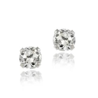 Icz Stonez 14k White Gold 3mm Round Cubic Zirconia Stud Earrings