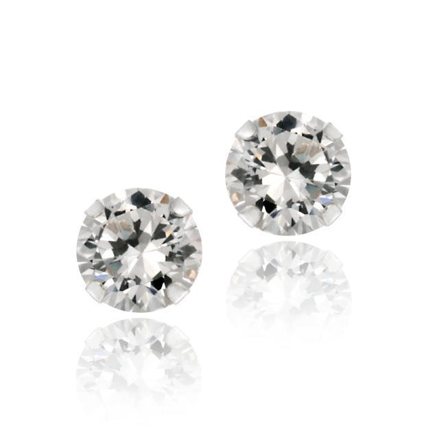 Icz Stonez 14k White Gold 5-mm Round Cubic Zirconia Stud Earrings