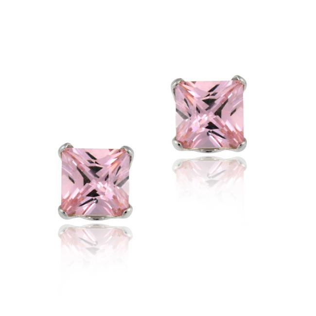Icz Stonez 14k White Gold Pink Cubic Zirconia Stud Earrings