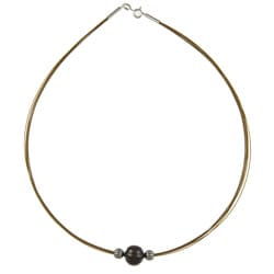 Kabella Kabella Silver and Steel Black Freshwater Pearl Necklace (10-11 mm)