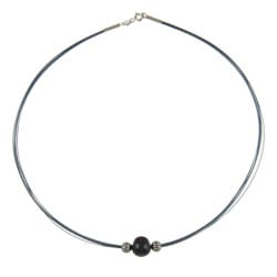 Kabella Kabella Silver and Blue Steel Black FW Pearl Necklace (10-11 mm)