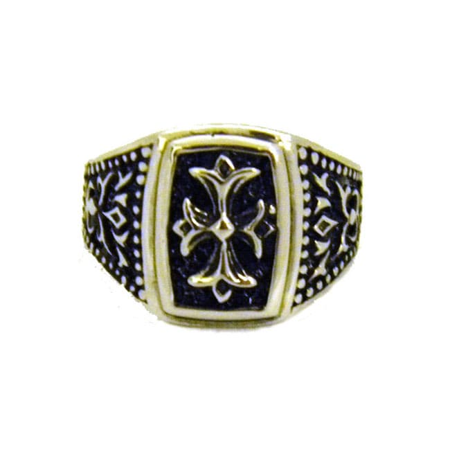 Antique-Finish Stainless-Steel Gothic Cross Ring