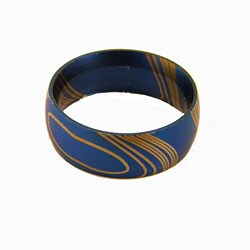 Stainless Steel Men's Blue Wood Grain Ring