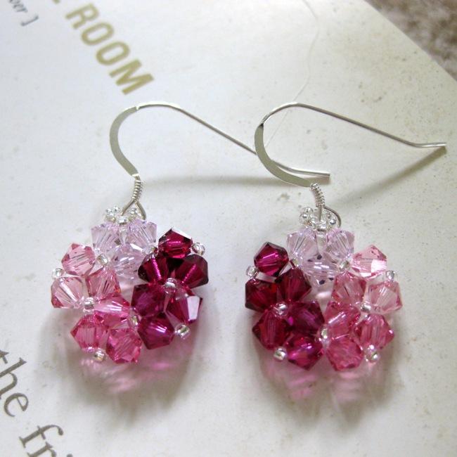 Handmade Crystal Beads Pink Circle Earrings Usa