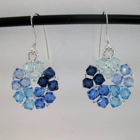 Handmade Crystal Beads Blue Circle Earrings (United States)
