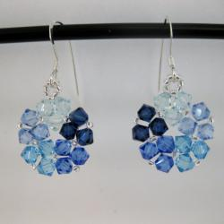 Crystal Beads Blue Circle Earrings