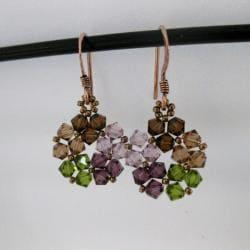 Crystal Beads Purple Mix Circle Earrings