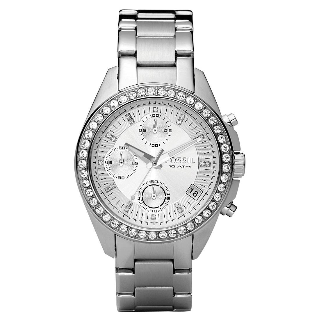 Shop fossil women 39 s decker stainless steel chronograph crystal accent watch free shipping for Crystal watches
