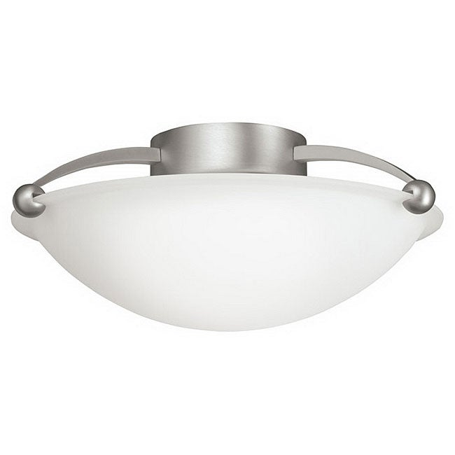 Algiers Collection 1-light Brushed Nickel and Frosted Glass Semi-Flush Ceiling Fixture