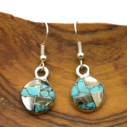 Handmade Alpaca Silver Round Turquoise and Mother of Pearl Earrings (Mexico) - Blue