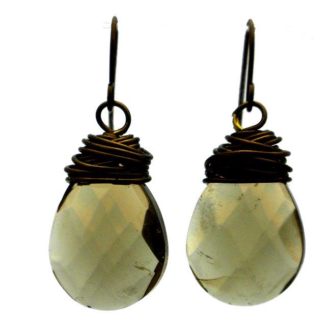 Bronze Teardrop Smoke Crystal Wire Wrap Earrings (China)