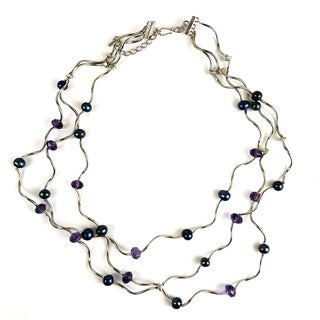 Handmade Curly Silver Overlay Freshwater Pearl and Crystal Necklace (China)