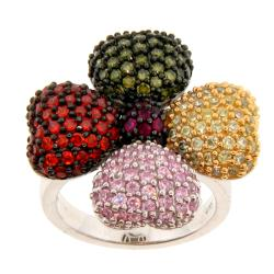 Meredith Leigh Sterling Silver Multi-Color Cubic Zirconia Ring