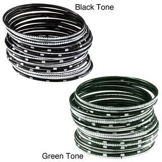 Set of 18 Black Summer Night Skies Bangle Bracelets (India)