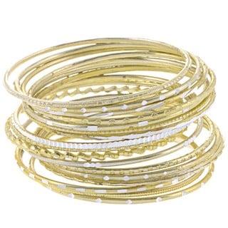 Set of 24 Aluminum Summer Skies Goldtone Bangle Bracelets (India)