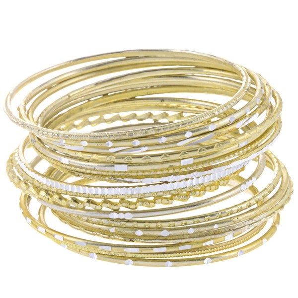 Set of 24 Aluminum Summer Skies Goldtone Bangle Bracelets (India)