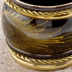Set of 7 Brass Black and Gold Evolution Bangle Bracelets (India) - Thumbnail 2