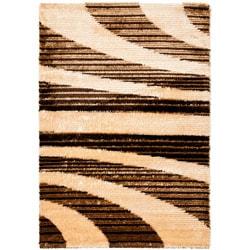 """Safavieh Handwoven Silken-Embossed Beige Shag Area Rug (5'3"""" x 7'6"""")"""