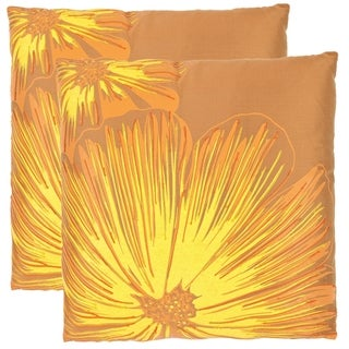 Safavieh Botanical 22-inch Orange/ Yellow Decorative Pillows (Set of 2)