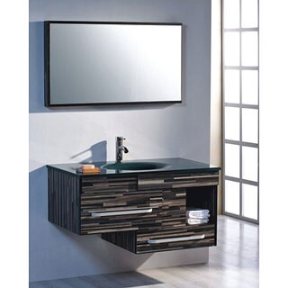 Striped Tempered Glass 39.5-inch Single-sink Glass Vanity - Blue/Green