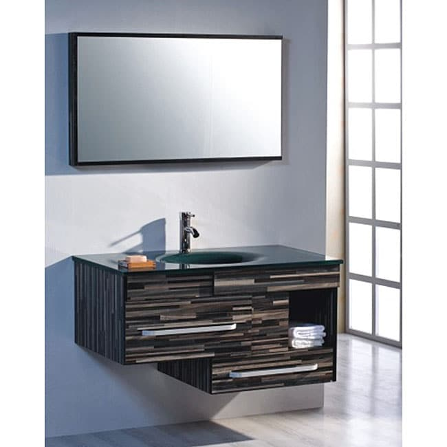 Striped Tempered Glass 39.5-inch Single-sink Glass Vanity