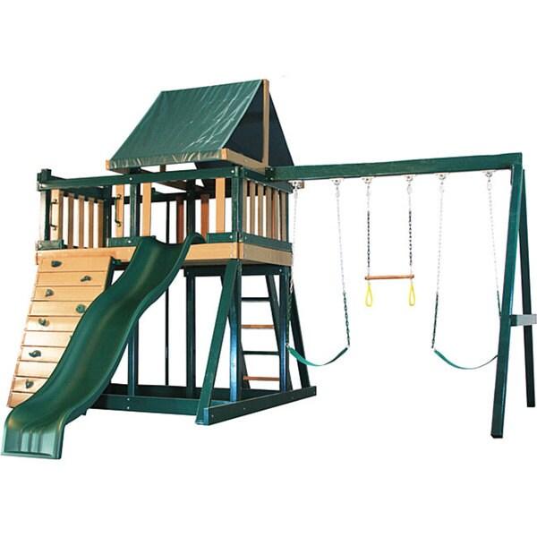 Congo Series Monkey Playsystem #1 Green Maintenance and Splinter Free Swing Set