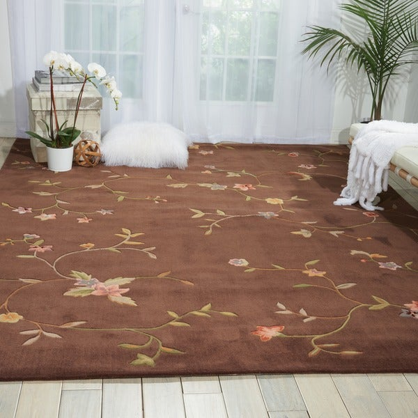 Nourison Hand-tufted Brown Spring Hill Rug (5' x 7'6)