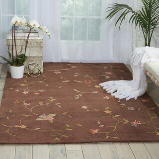 Nourison Hand-tufted Brown Spring Hill Rug (7'9 x 9'9)