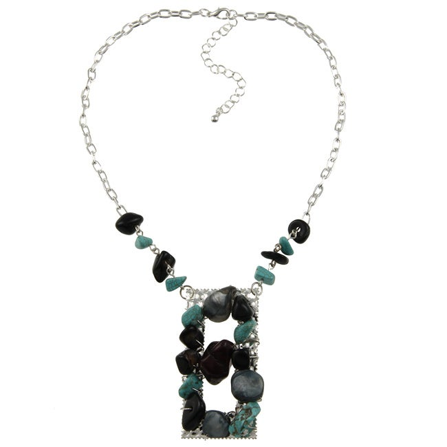 Crystale Silvertone Onyx and Turquiose Stone Necklace