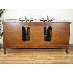 Granite Top 73-inch Double-sink Bathroom Vanity - Thumbnail 1