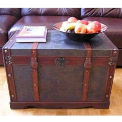 Ordinaire Sienna Large Faux Leather Wooden Steamer Trunk Chest